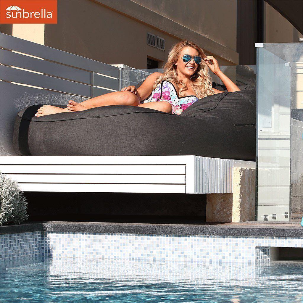 ambient lounge outdoor satellite twin sofa black rock sunbrella