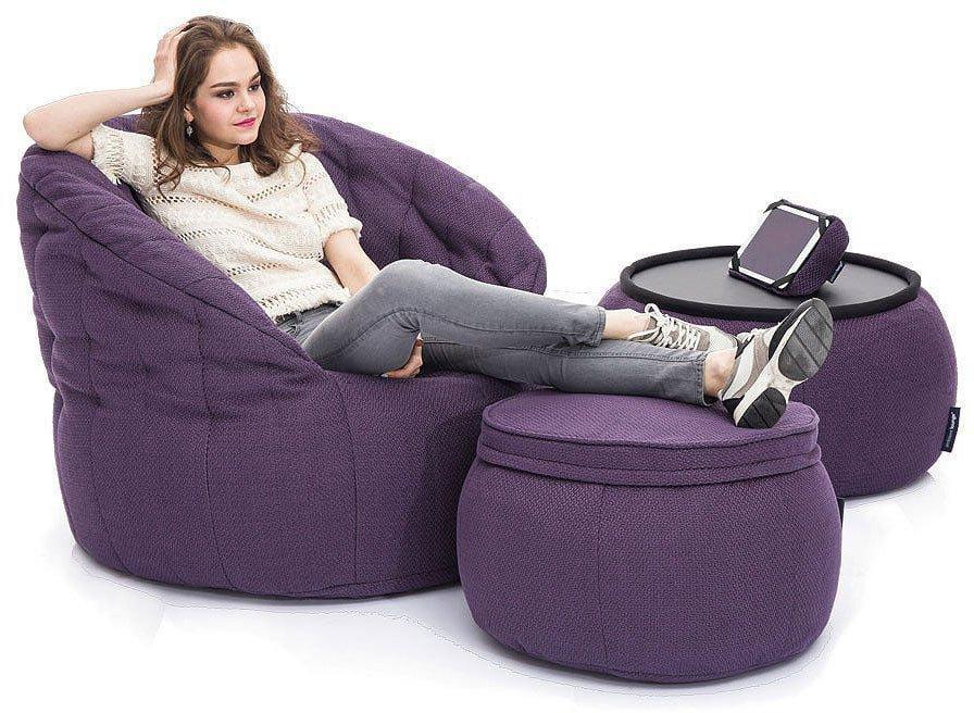 ambient lounge poef wing ottoman aubergine dream