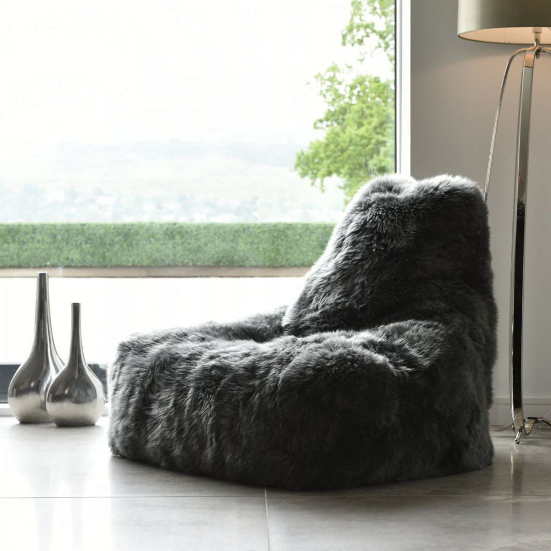 extreme lounging bbag mightyb indoor zitzak sheepskin grijs