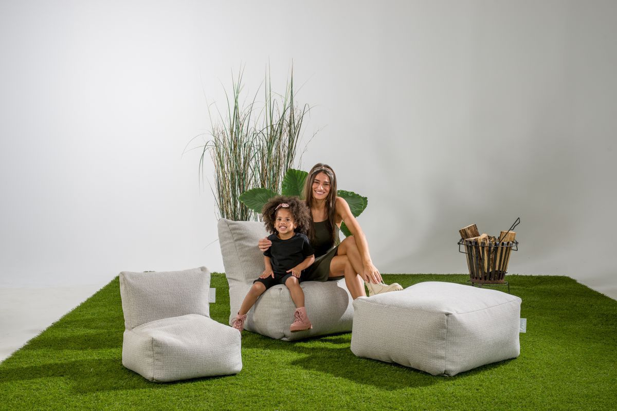 laui lounge poef basic square outdoor ash grey