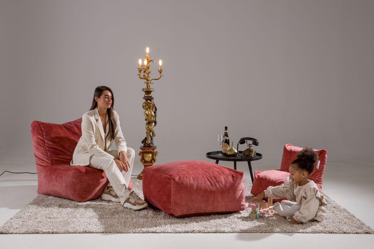 laui lounge poef velvet square indoor blush