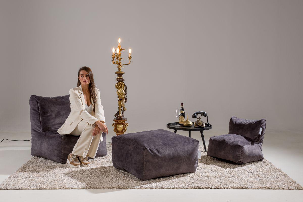 laui lounge poef velvet square indoor dark grey