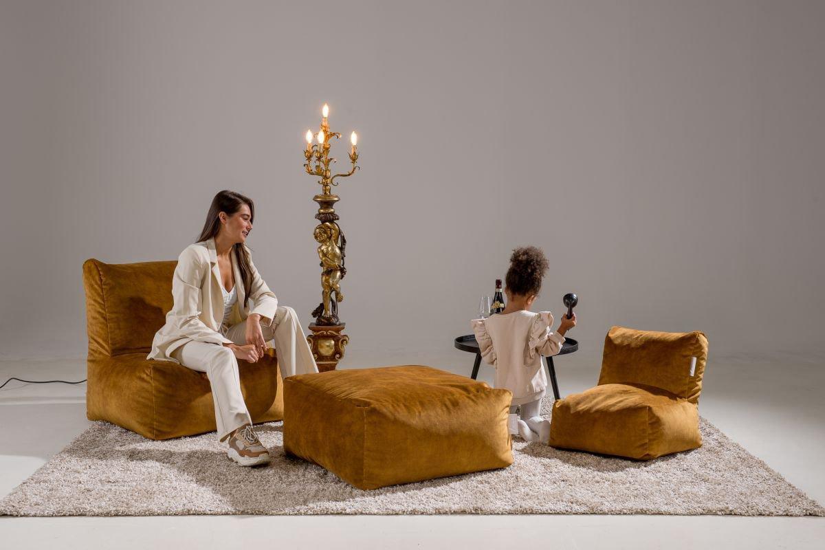 laui lounge poef velvet square indoor gold