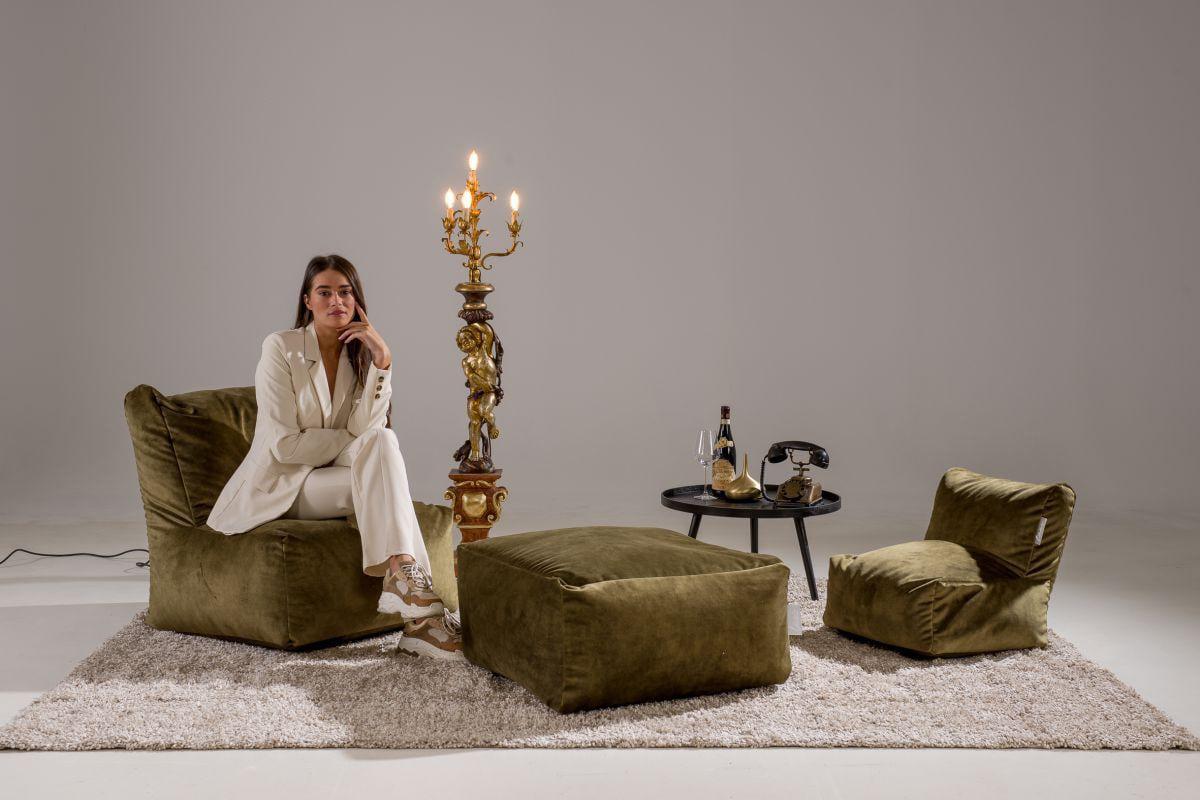 laui lounge poef velvet square indoor moss