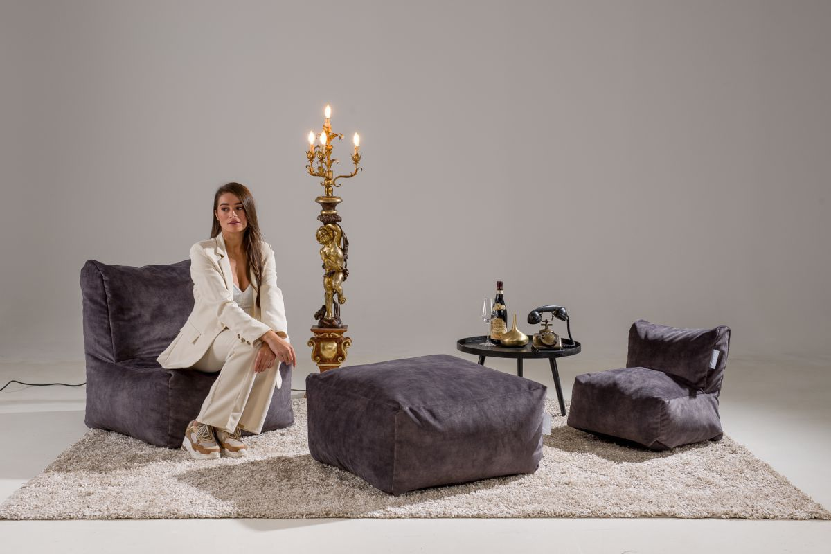 laui lounge velvet adult indoor dark grey