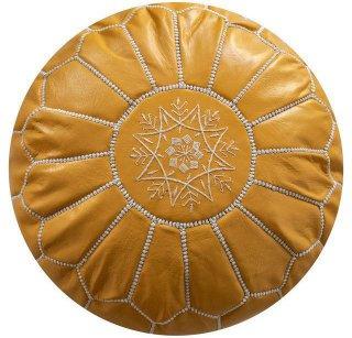 Poufs&Pillows Poef Leder - Yellow