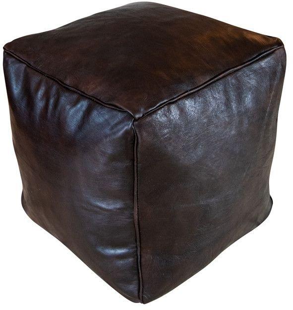 poufspillows vierkante poef leder donker bruin
