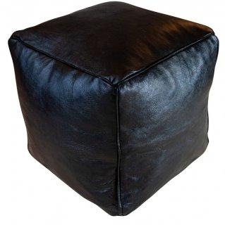 Poufs&Pillows Vierkante Poef Leder - Zwart