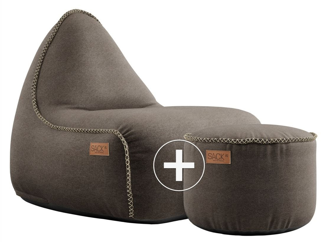 sackit canvas lounge chair pouf donkerbruin