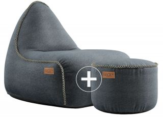 SACKit Canvas Lounge Chair & Pouf - Petrol