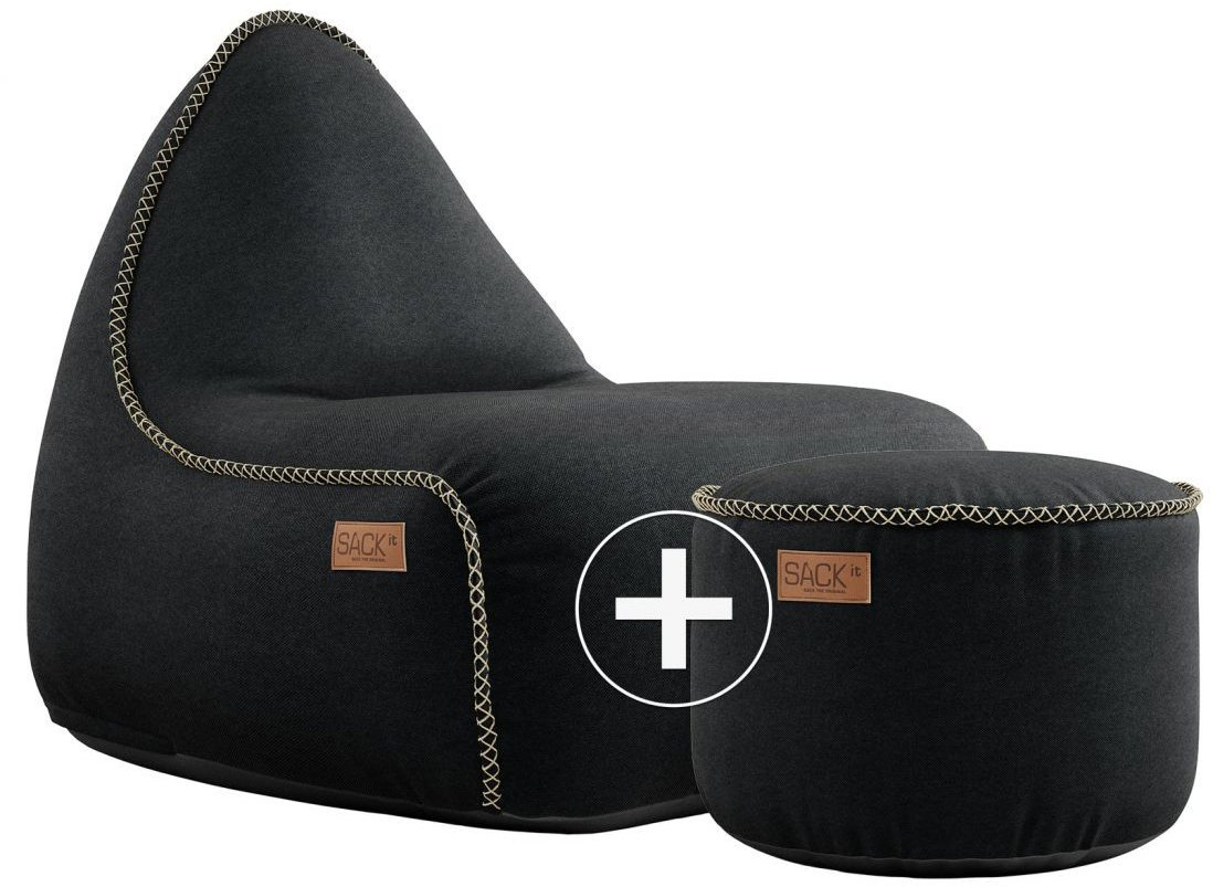 sackit canvas lounge chair pouf zwart
