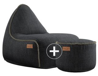 SACKit Cobana Lounge Chair & Pouf - Zwart