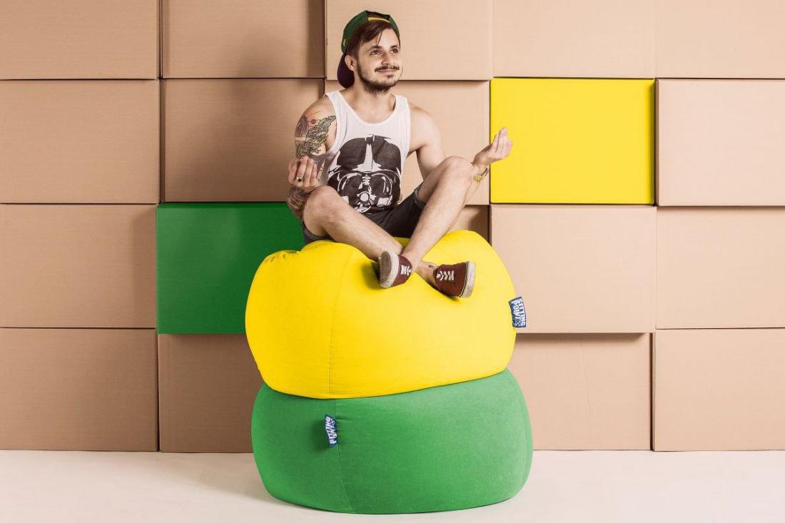 sitting point beanbag easy xxl geel